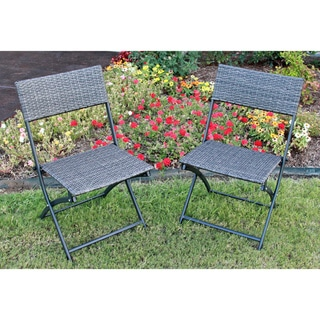 International Caravan Castillo Resin/ Steel Folding Chairs (Set of 2)