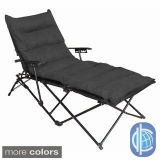 International Caravan Indoor/ Outdoor Folding Chaise Lounge Chair with Microsuede Seat Cover
