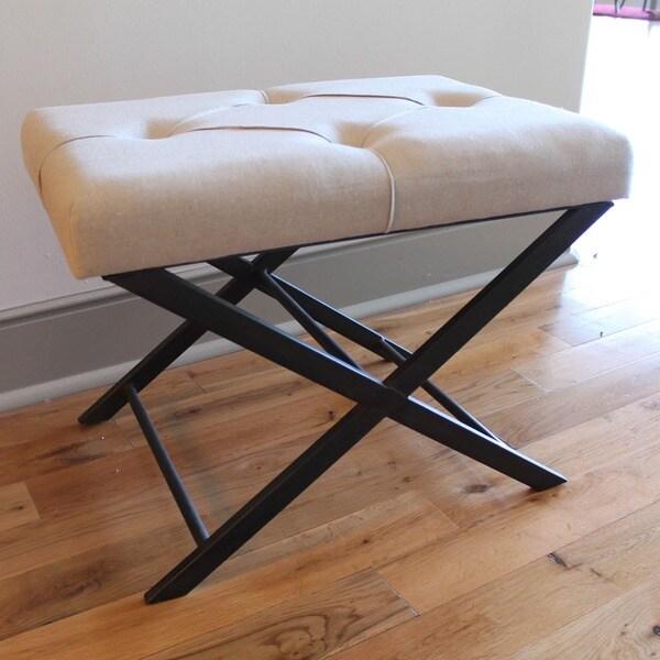 International Caravan Tufted Fabric Large Vanity Bench