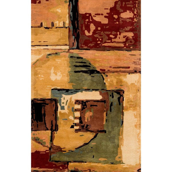"""Monet Cityscape Multi Hand-Tufted Wool Rug (5'3"""" x 8')"""