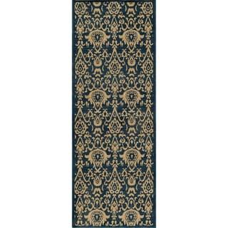 Ikat Chic Navy Wool Rug (2'7 x 7'9)