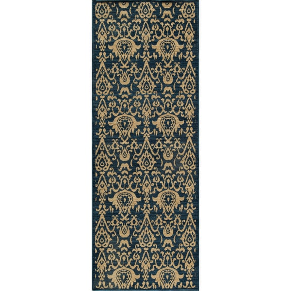 Vintage Ikat Chic Navy New Zealand Wool Rug (2'7 x 7'9)
