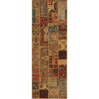 Hand-sheared Patchwork Gold Wool Rug (2'7 x 7'9)