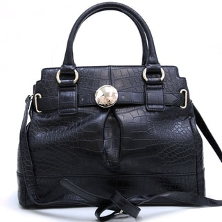 Anais Gvani Croco Embossed Belted Frame Faux-leather Satchel