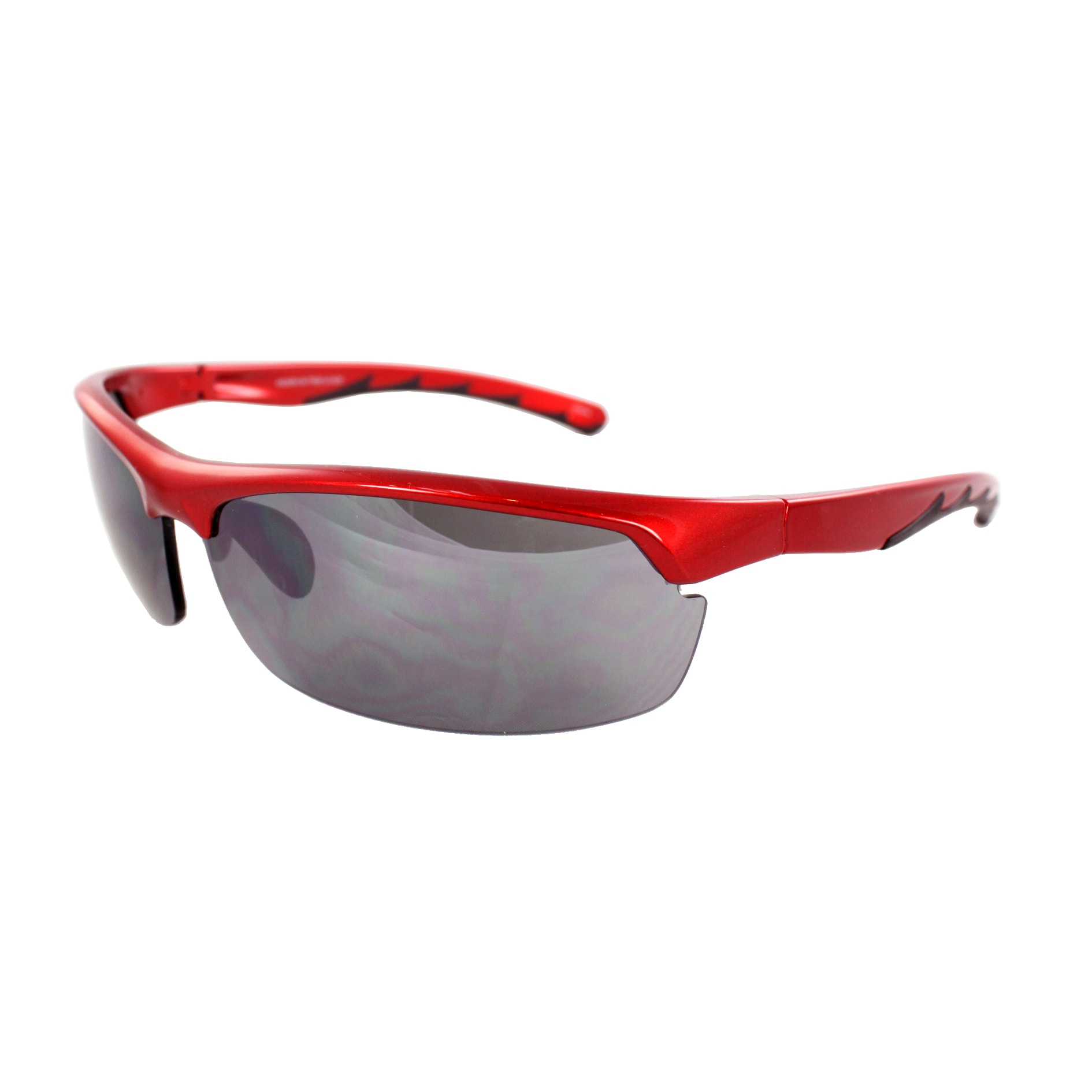 Men's 4926RV-RDBKSM Red Semi-rimless Wrap Sunglasses