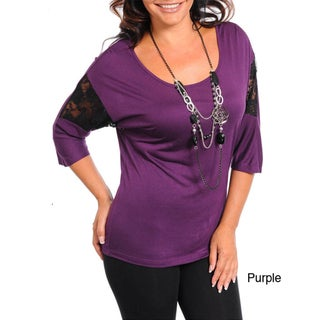 Stanzino Women's Plus Size Jeweled Top with Lace Detailed 3/4 Sleeve