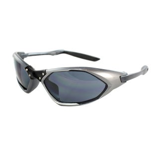 Unisex Grey Black Frame Black Lenses Wrap Sunglasses