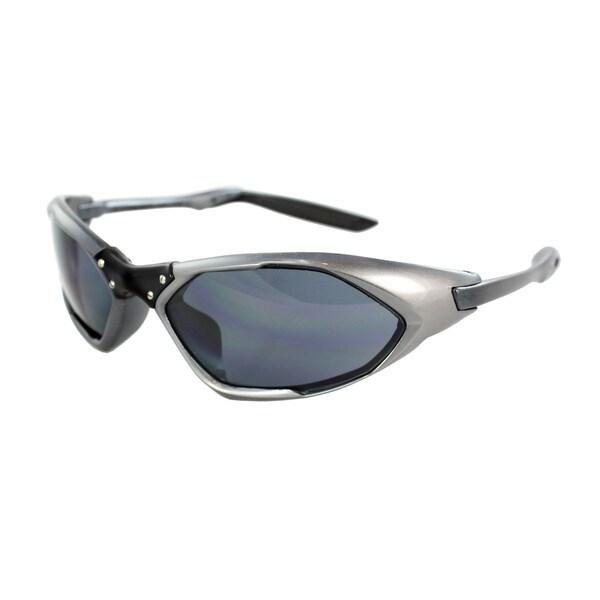 Unisex Grey Black Frame Black Lenses Wrap Sunglasses