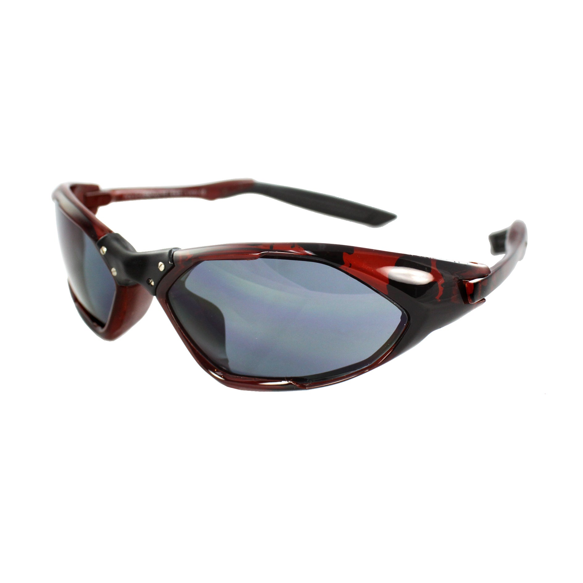 Unisex Black/Burgundy Frame Black Lenses Wrap Sunglasses