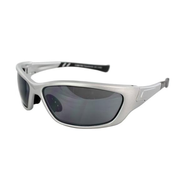 Unisex 8136M-SVRBKSM Silver Black Frame Smoke Lenses Wrap Sunglasses