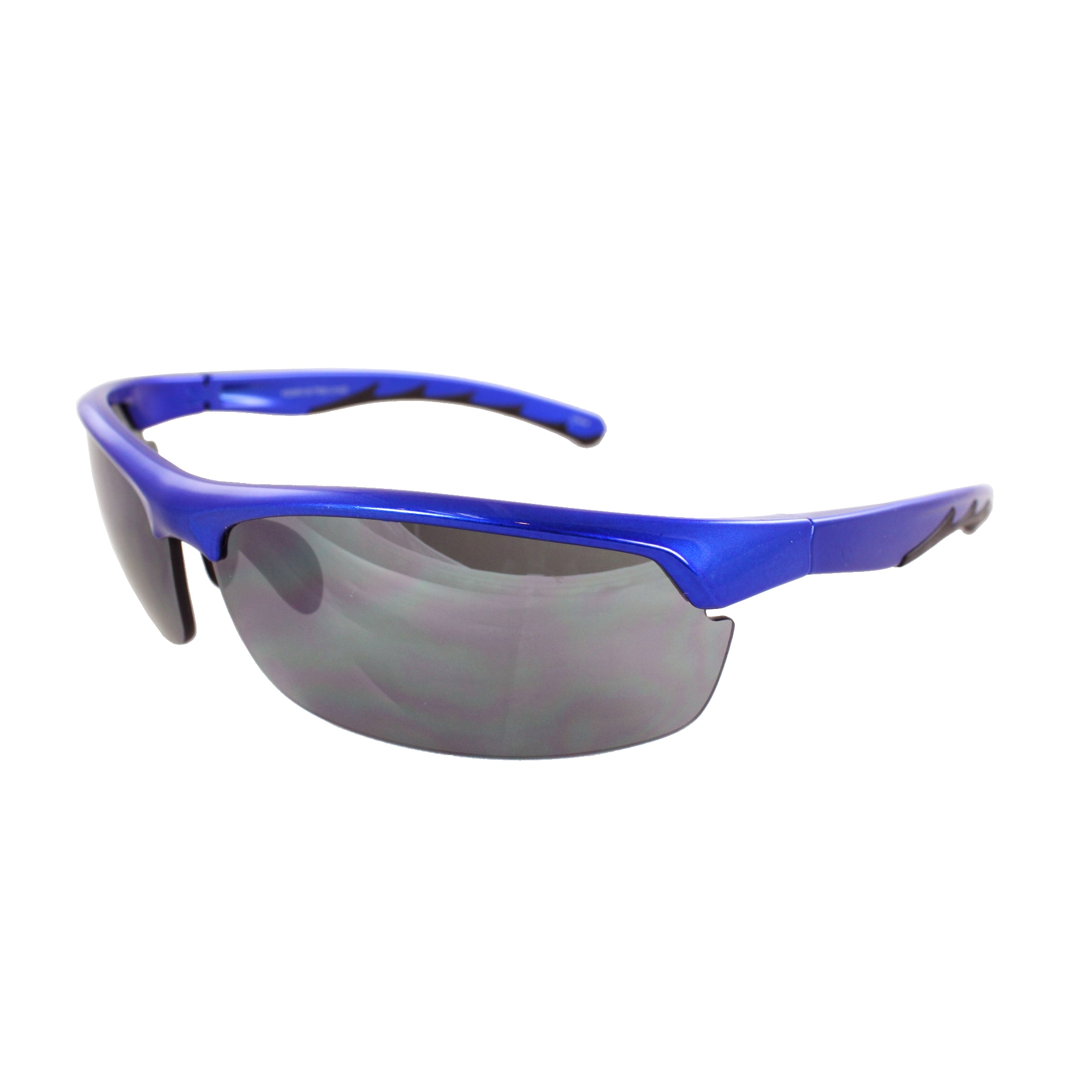 Unisex Blue/Black Semi-Rimless Wrap Sunglasses