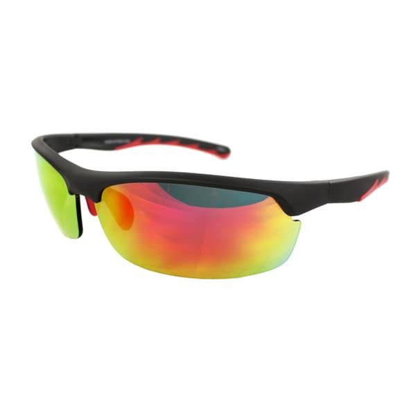 Unisex Black/Red Semi-Rimless Wrap Sunglasses