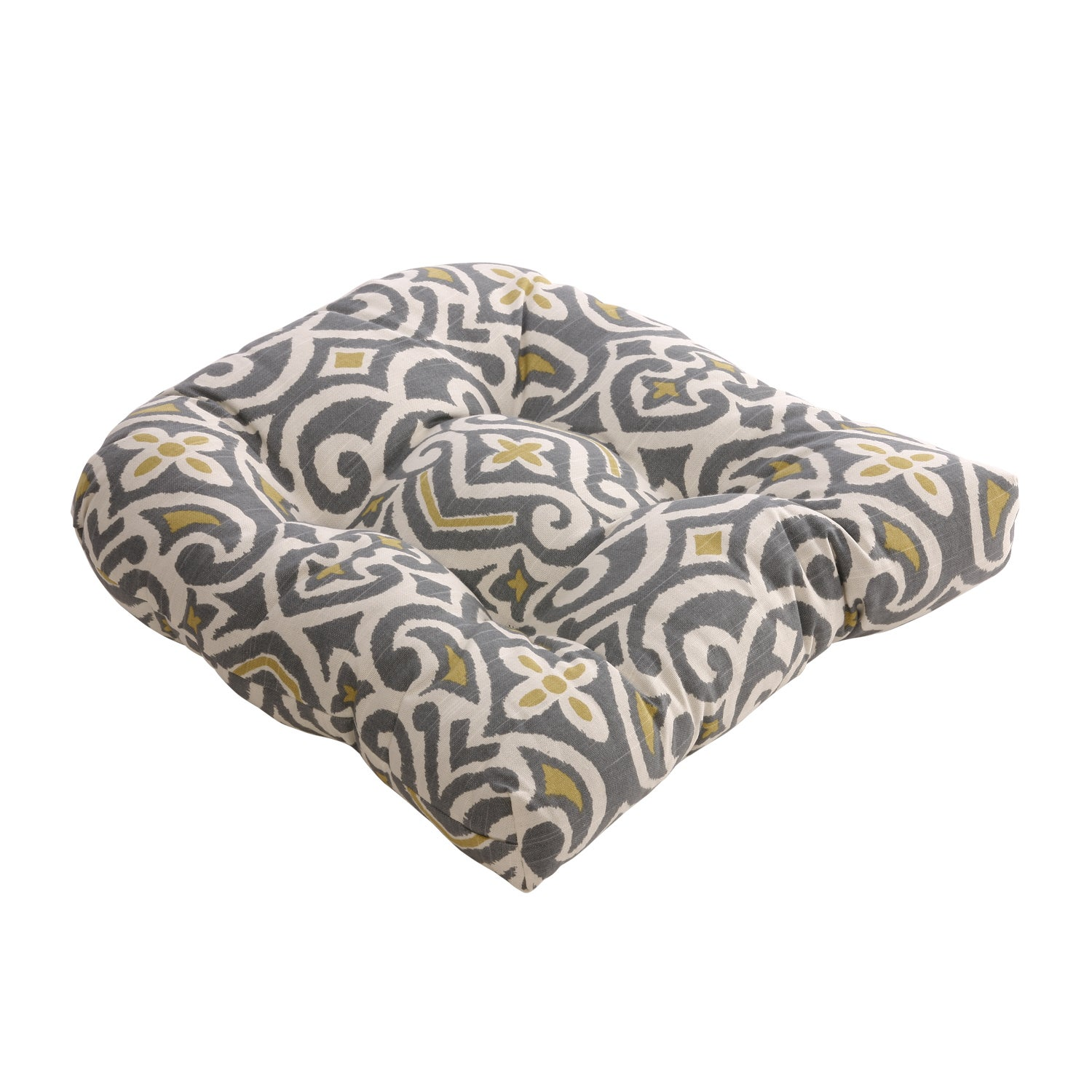 Pillow Perfect Gray/ Greenish-Yellow Damask Reversible Chair Pad (Set ...