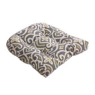 Gray and Greenish-yellow Damask Chair Cushion