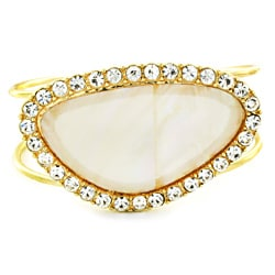 Goldtone with Crystal Trim and White Mother of Pearl Finish Bangle Bracelet