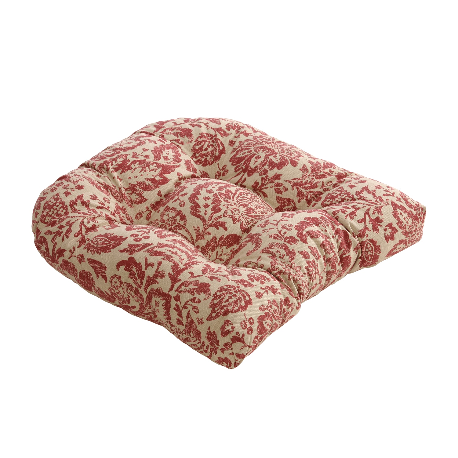Red/ Tan Damask Chair Cushion