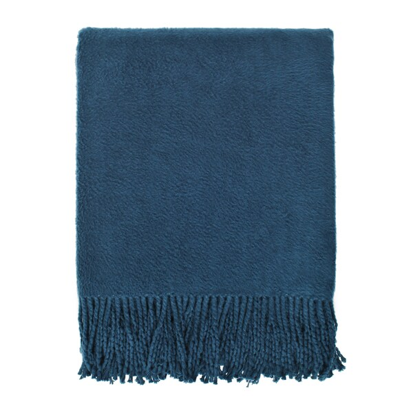 Brushed Organic Navy Cotton Throw