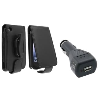 BasAcc Leather Case/ Black Car Charger for Apple� iPhone 3G/ 3GS