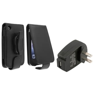 BasAcc Leather Case/ Black Travel Charger for Apple� iPhone 3G/ 3GS