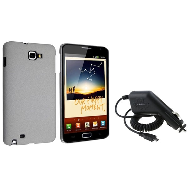 BasAcc Grey Matte Case/ Car Charger for Samsung© Galaxy Note N7000