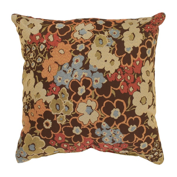 'Meadow' Brown Square Throw Pillow