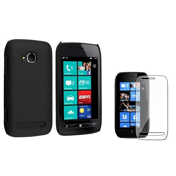 BasAcc Black Rubber Case/ Screen Protector for Nokia Lumia 710