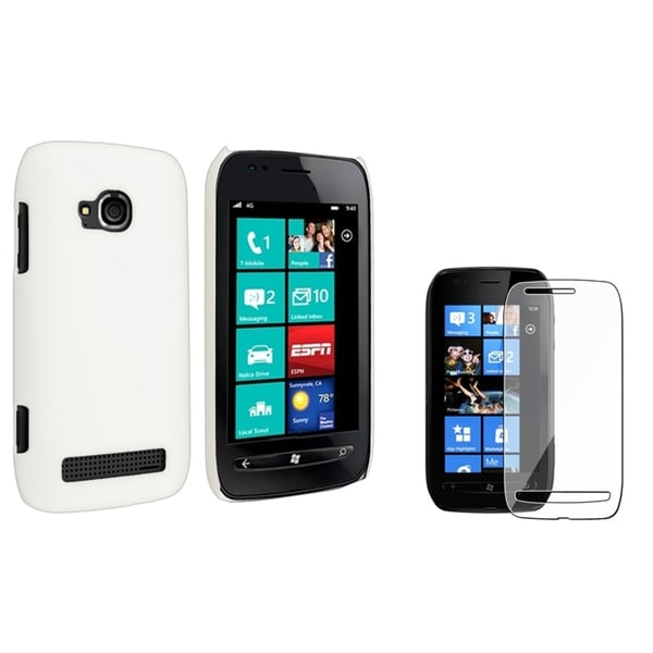 BasAcc White Rubber Case/ Screen Protector for Nokia Lumia 710