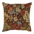 'Meadow' Brown Floral Throw Pillow