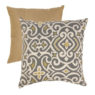 Pillow Perfect Grey/ Greenish-Yellow Damask Throw Pillow