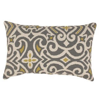 Pillow Perfect Grey /Greenish-Yellow Damask Rectangular Throw Pillow
