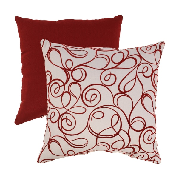 Pillow Perfect Red/ White Flocked Scroll Throw Pillow