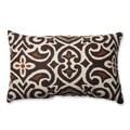 Pillow Perfect Brown/ Beige Damask Rectangular Throw Pillow