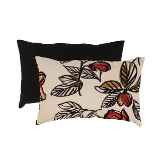Flocked Floral Rectangular Throw Pillow