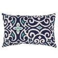 Blue/ White Damask Rectangular Throw Pillow
