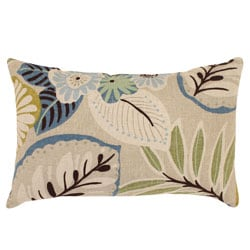 Pillow Perfect Beige/ Blue Tropical Rectangular Throw Pillow