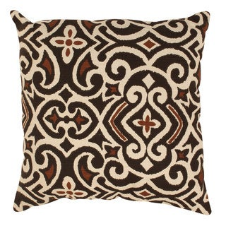 Brown/ Beige Damask Throw Pillow