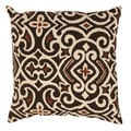 Brown/ Beige Damask Throw Pillow