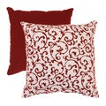 Pillow Perfect Red/ White Flocked Damask Throw Pillow