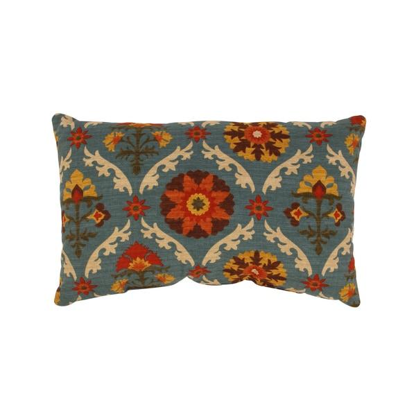 Mayan Medallion Rectangular Throw Pillow in Adobe