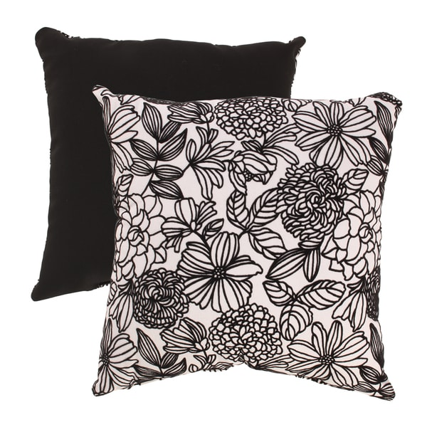 Flocked Floral 18-inch Throw Pillow