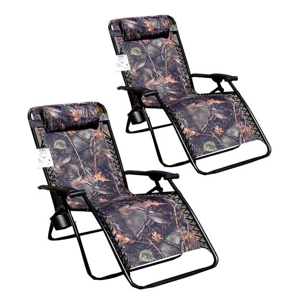 Jumbo Camo Zero Gravity Reclining Patio Chairs (Pack of 2)