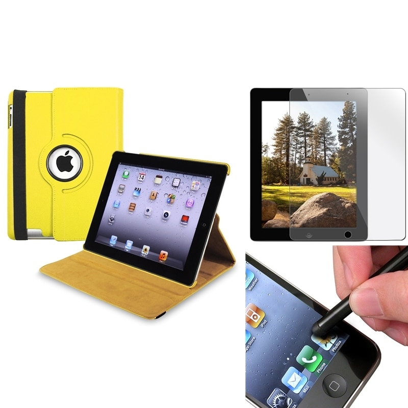 Yellow Swivel Case/ Screen Protector/ Black Stylus for Apple iPad 3