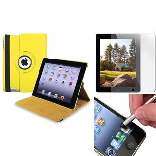 Yellow Swivel Case/ Screen Protector/ Silver Stylus for Apple iPad 3