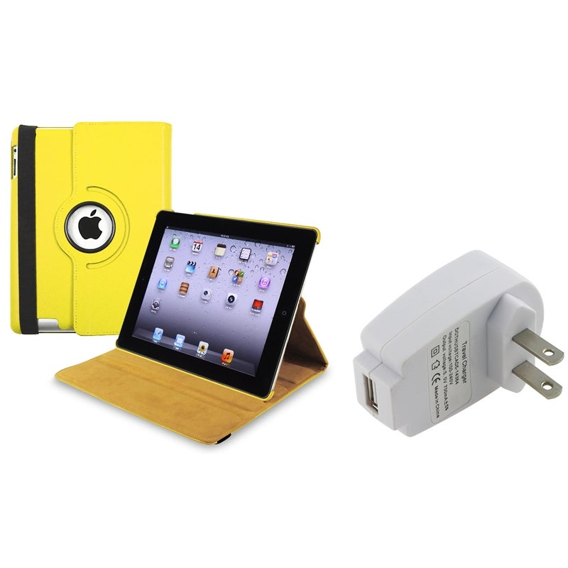 Yellow Swivel Case/ Travel Charger Adapter for Apple iPad 3