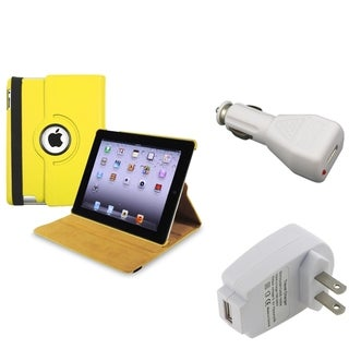 Yellow Swivel Case/ Travel Charger/ Car Charger for Apple iPad 3