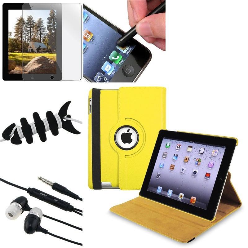 Yellow Case/ LCD Protector/ Headset/ Stylus/ Wrap for Apple iPad 3