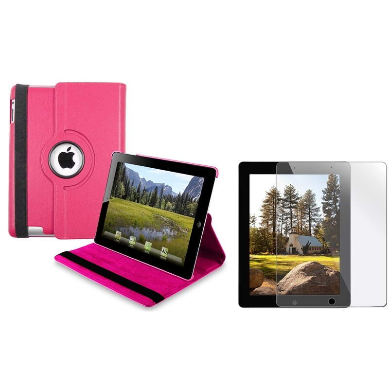 INSTEN Hot Pink Leather Swivel Tablet Case Cover/ Screen Protector for Apple iPad 3/ 4