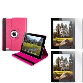 BasAcc Hot Pink Leather Swivel Case/ Screen Protector Set for Apple iPad 3/ 4