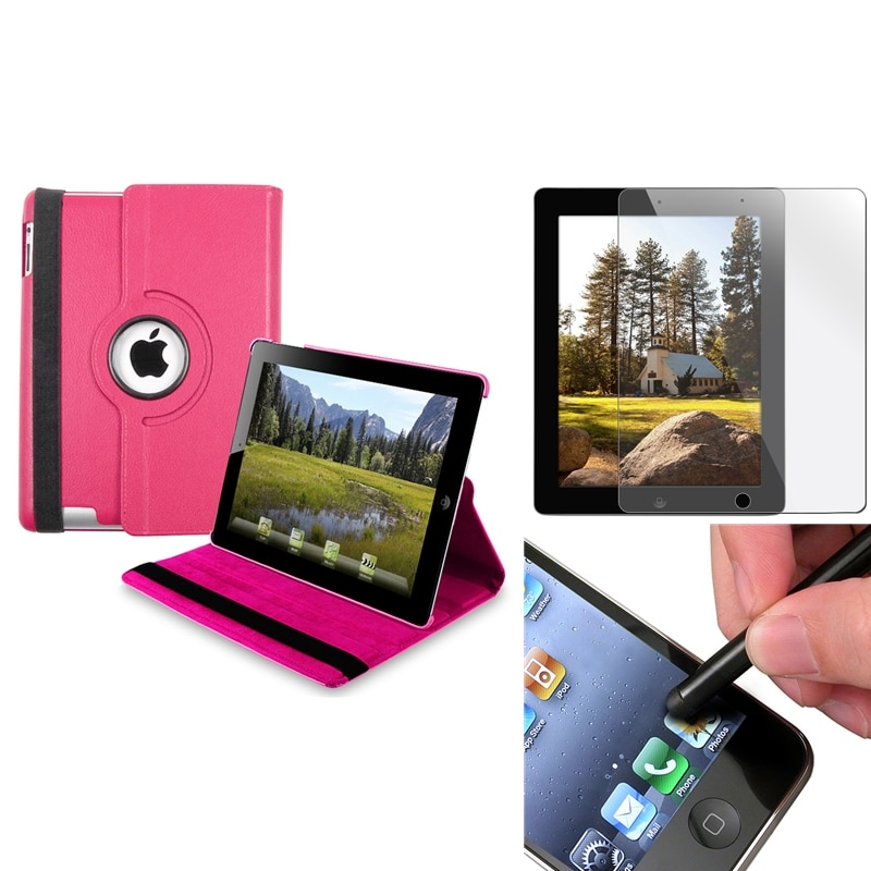 BasAcc Hot Pink Swivel Case/ Screen Protector/ Black Stylus for Apple iPad 3/ 4
