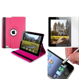 INSTEN Hot Pink Swivel Tablet Case Cover/ Screen Protector/ Silver Stylus for Apple iPad 3/ 4
